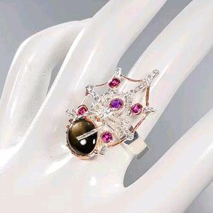 Black Star Sapphire Amethyst sterling spider ring